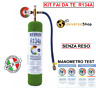 GAS R134A REFRIGERANTE BOMBOLA DA 1 LT 900 GR NETTO KIT FAI DA TE CON MANOMETRO