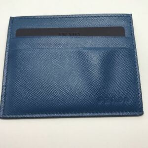 Brand New PRADA Men's Saffiano Card Holder in Colbato Blue (Card case)
