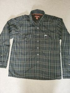 Simms Cold Weather Heavy Button Down Shirt Plaid MensThermal Lined Size Small