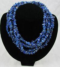 "Vintage Polished Blue Lapis Chip Bead Necklaces Set of 3 18"" Long"