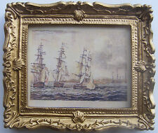 1:12 Scale Framed Picture Print Of Racing Sailing Ships Tumdee Dolls House 7 JD