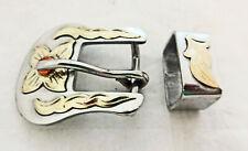 """Punchy Stainless Steel Belt Buckle Loop 5/8"""" Horse Tack German Silver Flower New"""