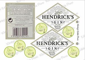 Hendricks Gin Labels Front & Back Cake Topper (Edible Icing) & Cupcake Toppers