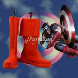 Marvel Captain America Steve Rogers Red Boots Shoes Hero Anime Cosplay