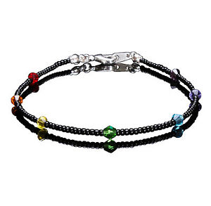 Chakra Coloured Swarovski Crystal Elements and Black Seedbead Bracelet