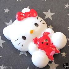10 x Resin Kitty Cat Flatback Beads/Hello/Bear SB335R