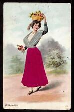 1906 silk dress costume Arlesienne France postcard