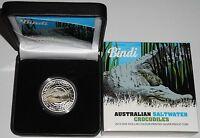 Australien 1 Oz Silber Salzwasser-Krokodil Bindi 2013 PP im Etui