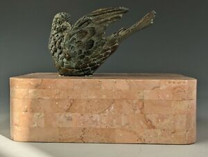 Vintage Maitland Smith Tessellated Stone Bronze PEACE Dove Sculpture Box