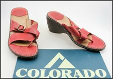 COLORADO WOMEN'S RED SLIP ON  HEELS THONGS SANDALS SHOES SIZE 9