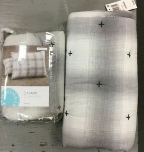 2 MARTHA STEWART COLLECTION, Plaid Mist Standard Pillow Shams, New