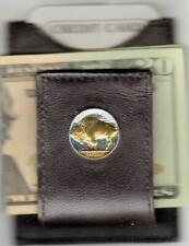 Gold & Silver Coin Money Clip Buffalo Nickel Brown Leather Folding 24 k