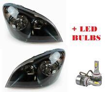 FREIGHTLINER CASCADIA 2012 2013 2014-2016 BLACK HEADLIGHTS HEAD LAMP + LED BULBS