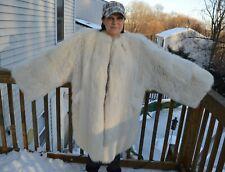 Plus Sized Arctic Fox Fur Coat - Jacket 2XL 3XL - White, blue - not mink, sable