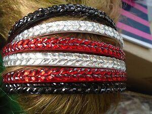 Pack 2 coloured hair alice bands diamante rhinestone plastic headband band stone