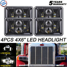 4x LED 4x6 Projector LED Headlight Hi-Lo Beam For Peterbil Kenworth Freightliner