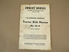 McCormick Deering Tractor Disk Harrow Owners Manual International Harvester 1947