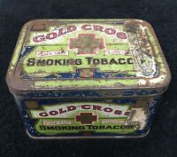 Vintage Gold Cross Fine Cut Virginia Smoking Tobacco Tin for Pipes or Cigarette