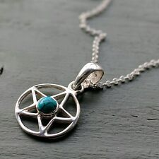 925 Sterling Silver Turquoise Pentagram Pendant, Chain & Gift Box Wicca Pagan