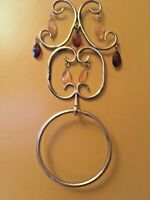"Vintage Gold Metal Decorative Bathroom  Accessory Towel Ring  Holder 16""H x 7"" W"