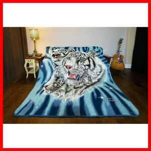 JPI Signature Collection 9 White Tigers Queen Size Soft Velveteen Plush Blanket