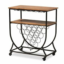 Baxton Studio Dania Antique Vintage Industrial Black Metal and Walnut Finishe...