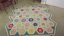 "Quilt Dated 1935 - Grandmothers Flower Garden Pattern Coverlet Lap 72"" x 74"""