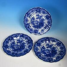 W. Adams & Co. Flow Blue - Fairy Villas Pattern - 3 Dinner Plates - 10½ inches