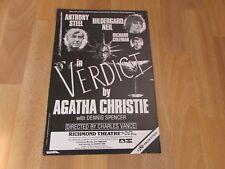 Anthony STEEL in VERDICT by Agatha Christie 1984 RICHMOND Theatre Poster