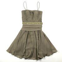 Chetta B Womens 2 100% Silk Bust Pleated Belted Spaghetti Straps Tulle Dress