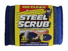 Mr Clean - Steel Scrub - Heavy Duty Cleaning Scourer Pad (Pack of 3)