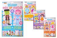 Childrens Stickers Set - Mix & Match - Kids Craft Kits - 4 Different Designs