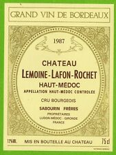 Etiquette vin de Bordeaux-Château Lemoine-Lafon-Rochet(1987)-Haut-Médoc-Réf.464b