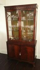 LARGE ANTIQUE CORNER/DRINKS SHELVED GLASS DOORED CABINET, WITH KEY!!