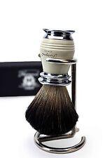 Chrome Hande in Nero Pennello da barba in pelo di tasso Manico di Design Liscio + GRATIS TITOLARE