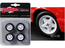 """PONY WHEELS AND TIRES SET OF 4 PCS FROM """"1992 FORD MUSTANG LX"""" 1/18 BY GMP 18852"""
