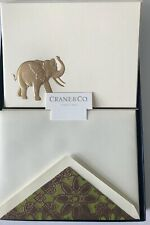 CRANE & CO Fine Stationery Engraved ~ELEPHANT~ 8 Note Cards/Lined Env- NEW-NIB