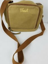 Fossil Canvas Brown Cross Body Shoulder Bag Organizer Travel