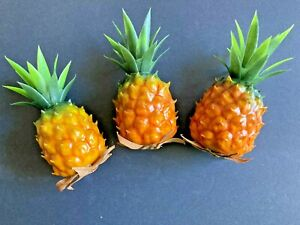 Cute miniature pineapples. fake foods, staging 3 pieces