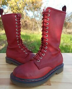 Dr Martens Women 3 UK 5 US Rare 11820 14 eye Tall Boots Red Embossed 1914 QQ
