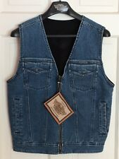 NEW Size Small Mens Harley Davidson REVERSIBLE Denim / Black Fleece Vest S