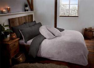 Charcoal Grey & Silver Reversible Teddy Fleece Fur Duvet Quilt Cover Set