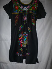 NEW  VINTAGE STYLE BLACK  MEXICAN  EMBROIDERED MINI DRESS SIZE SMALL