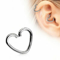 Cartilage Earring Heart Shaped 16g 10mm 316L Surgical Steel Ear Tragus Helix