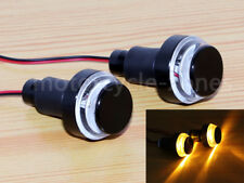 2Pcs Amber LED HandleBar End Indicator Grip Plug Turn Signal Light 4 Cafe Racer