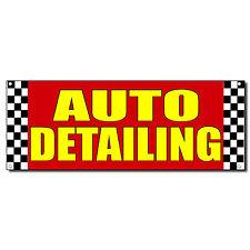 Auto Detailing Red Car Vinyl Banner Sign W/ Grommets 2 ft x 4 ft