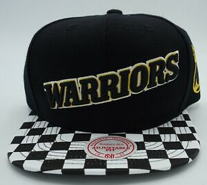 NBA Golden State Warriors Mitchell & Ness Adult Snapback Hat Checkered Cap M&N
