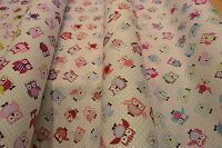 Owls Multi 100% Cotton Designer Owl Fabric Curtain Upholstery Quilting Craft