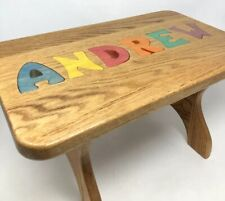 "Vintage Wooden Small Child Chair Bench Personalized ""ANDREW"" Solid Wood Brown"