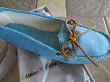 NEW MINNETONKA CANVAS MOCCASIN SHOES  WOMENS 9 TURQUOISE MOCS FREE SHIP